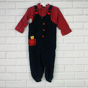 Baby 24M Buster Brown plaid overalls
